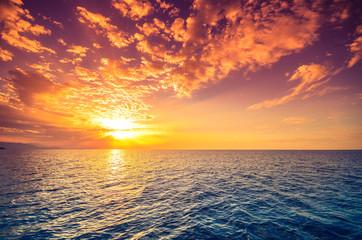 Sunset over aegean sea, Greece.