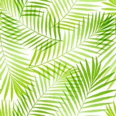 Keuken foto achterwand Tropische Bladeren Summer tropical palm tree leaves seamless pattern. Vector grunge design for cards, web, backgrounds and natural product.