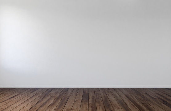 Empty room interior with white wall and wood floor