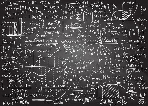 Math education vector pattern with handwritten formulas, tasks,