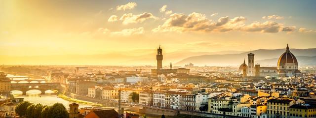 Spoed Fotobehang Florence Blick über Florenz vom Michel Angelo Platz