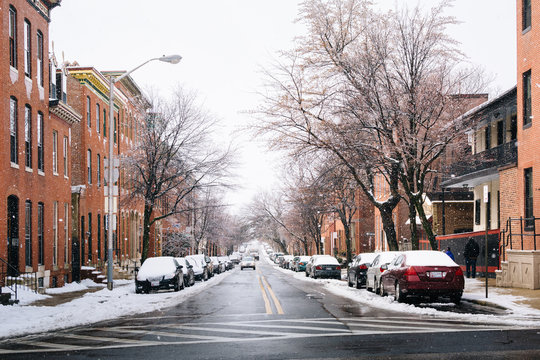 Pratt Street in the snow, in Patterson Park, Baltimore, Maryland.