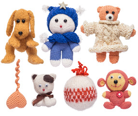 Homemade knitted toys by Larisa Barsikyan. Isolated on white background.