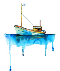 Watercolor painting. Cartoon boat on white background.