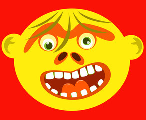 Cartoon ugly yellow monster face on red background.