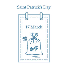 Cute vector illustration: calendar with a bag full of gold coins and clover for St. Patrick's Day.