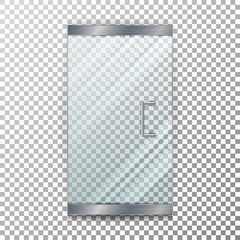 Glass Door Transparent Vector. Realistic Store Glass Door For Market And Fashion Boutique On Checkered Background