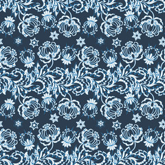 Seamless pattern with floral ornament. Vector illustration