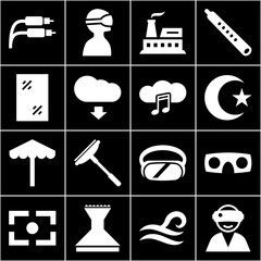 Set of 16 outline filled icons