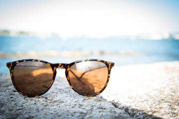 Sunglasses with blurry background