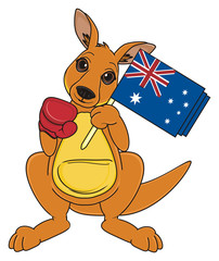 Animal, cartoon, zoo, Australia, continent, mascot, beige, jump, fight, jump, kangaroo, mushroom, toy, stand, flag,  boxing, gloves