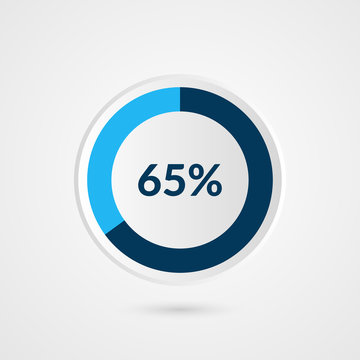 65 percent blue grey and white pie chart. Percentage vector infographics. Circle diagram business illustration