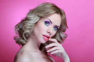 Bauty Blonde Model and Orange Pink Make Up