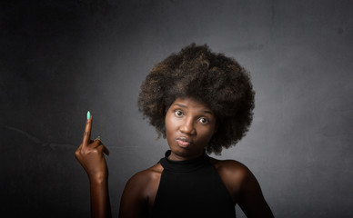 african girl showing middle finger