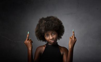 african girl double rude gesture