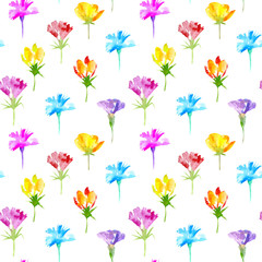 Floral seamless pattern of a wild flowers. Buttercup, cornflower, bluebell, snowdrop flowers. Watercolor hand drawn illustration. White background.
