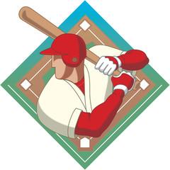 baseball batter male with baseball diamond
