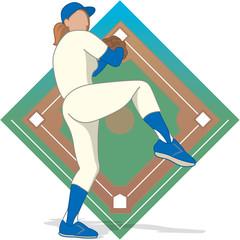 baseball pitcher female with baseball diamond