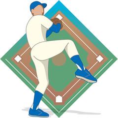 baseball pitcher male with diamond background