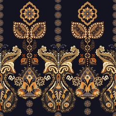 Indian seamless pattern. Wallpaper with Paisley. Ethnic style