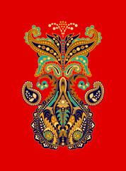 Colorful decorative element. Paisley element