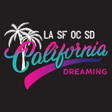 California calligraphic design with palm silhouette.
