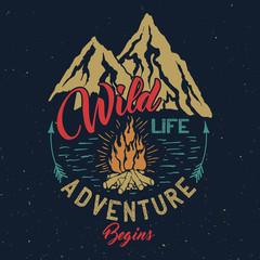Outdoor adventure vintage emblem.