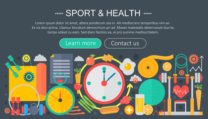 Healthy lifestyle concept with food and sport icons. Sport and fitness flat concept infographics header template design. Vector illustration.