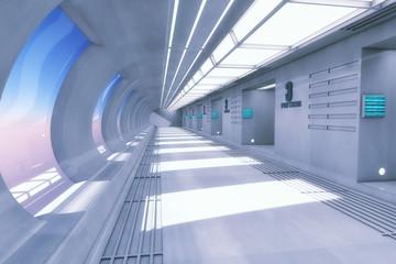 3D rendering. Futuristic empty interior corridor