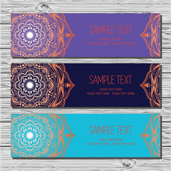Set of cards in ethnic style.
