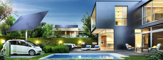 Modern house with solar panels and electric car