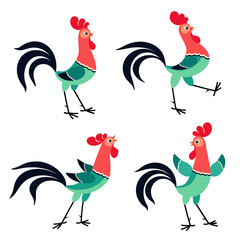Set of cartoon rooster in various poses isolated on white background