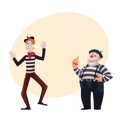 Two French mimes, young and old, in traditional costumes as symbols of France, cartoon vector illustration with place for text. French mime characters, slim and fat, young and old