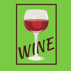 """Red wine glass. Vector illustration. Square frame. Text """"wine""""."""