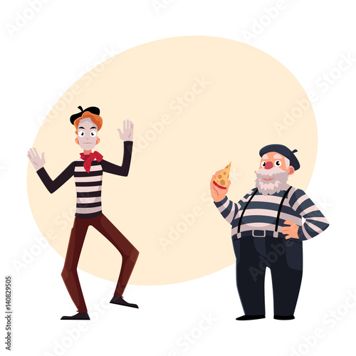 Two French Mimes Young And Old In Traditional Costumes As Symbols