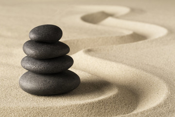 Zen meditation stone and sand garden. Symbol for spirituality harmony and purity...