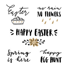 Happy Easter lettering set. Hand written quotes for greeting cards, gift tags. Typography collection. Isolated vector illustrations. Spring concept.