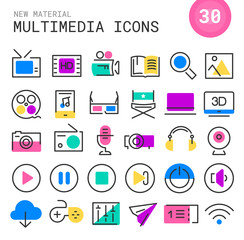 Multimedia linear icons collection