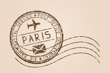 Paris mail stamp. Old faded retro styled impress