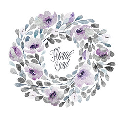 Watercolor frame with lovely flowers. Floral wreath. Can be used for  mothers day, valentines day, birthday cards, wedding invitations.