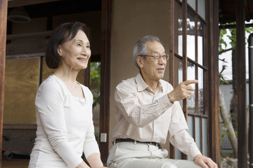 Couple sitting on a veranda