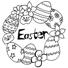 Happy Easter Hand Drawing Banner