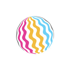 Attractive colorful rubber ball icon. Juicy summer logo