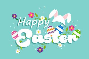 Happy Easter spring rabbit design for celebration