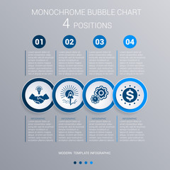 Monochrome blue bubbles chart Infographics for 4 steps