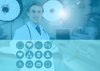 Male doctor touching medical icons on interface screen