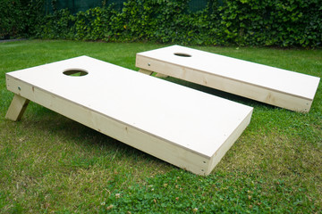 Cornhole Boards Outdoors in Garden