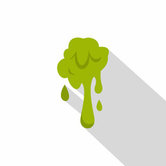 Green slime spot icon, flat style