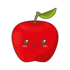 kawaii apple fruit icon vector illustration eps 10