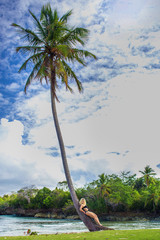young girl scrambling on the high palm tree. Tropical landscape, caribbean view